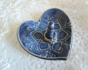 Blue Heart ring holder bowl, lace heart ring dish