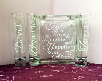 Family Blended Unity Sand Ceremony Glass Containers - Glass Block with Here's to Love & Laughter and Happily Ever After - 3 sides