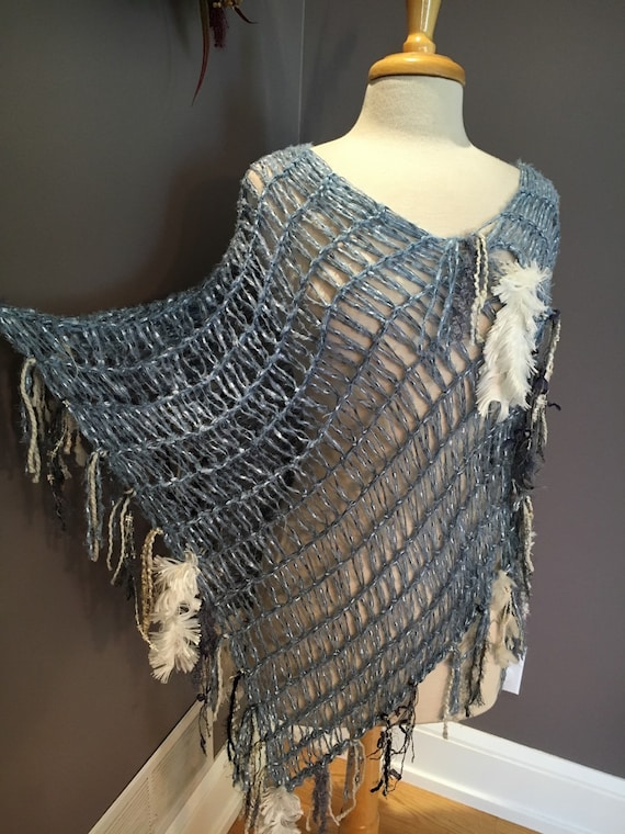 "Hand knit lightweight blue XL poncho with fringe, ""cool waters"", Blanket poncho, blue shoulder wrap, handmade artwear, unique knit poncho"