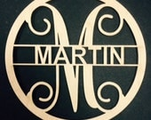 Custom Circle Border With Vine Initial and Block Letters Name! 12''x12''x1/4 FREE SHIPPING!
