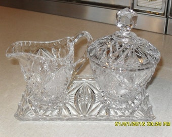 Vintage Pressed Glass Sugar and Creamer with Dish