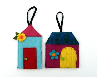 Rescued Wool Ornaments - Winter Cottage Series Set of 2 - Limited Edition