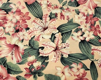 Hoffman California Fabric, 3 1/2 Yards Salmon Pink and Green Lilies Floral Destash Cotton Fabric Yardage, Quiltsy Destash Party