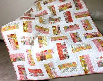 Modern Quilted Throw in Mustard Yellow, Pink, Gray and Gold Geometric Lap Quilt, Moda Twenty Three Fabric
