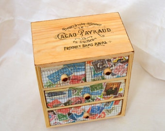 Paper Collaged Box. Vintage Stamp Collaged Box.