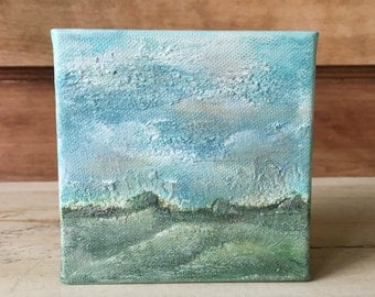 Mini Landscape Painting, Rolling Hills no.2, textured, 4x4 original acrylic on canvas
