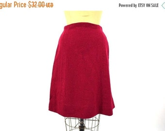 SUMMERS END SALE // 1960s skirt vintage 60s red wool a line maroon mini Xs