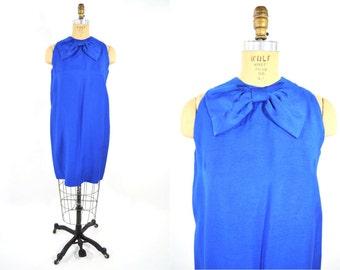1960s dress vintage 60s mod cobalt blue bow mini shift party dress S/M