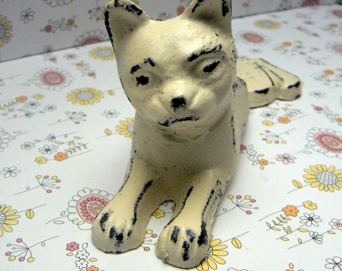 Cat Door Stop Cast Iron Shabby Chic Off White Ivory Kitty Kitten Doorstop Prop Home Decor
