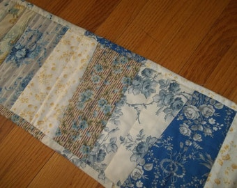Table Runner Strip Patchwork Quilted Table Runner Blue & Yellow