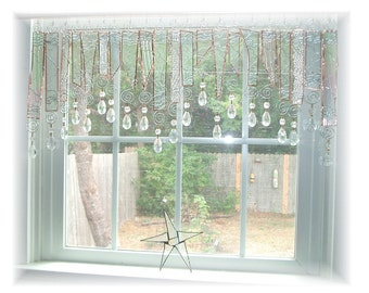 Clearly Pretty Textured Stained Glass Window Treatment Kitchen Valance Curtain
