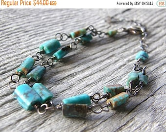 Summer Sale Multi Strand Turquoise and Sterling Silver Bracelet