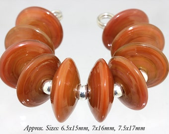 Handmade Caramel glass disc  lampwork beads - Made to Order