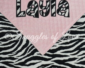 Zebra Baby Blanket - Personalized Zebra Blanket - Zebra Minky Blanket - Monogrammed Zebra Blanket - Zebra and Your Choice of Colors