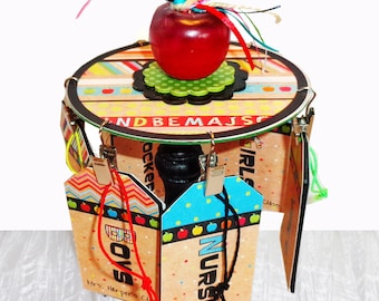 Teacher Gift Personalized Desktop Hall Pass Carousel Back to School with Apple