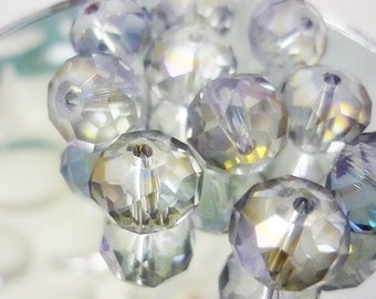 10mm Mystic AB Lavender Rondelle Crystal Beads,Mystic AB Rondelles 8 piece