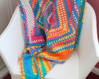 FREE SHIPPING Random Rainbow Crochet Baby Blanket - Granny Square - Lap TV Blanket - Pram Stroller Blanket - Sofa Throw 40 x 40