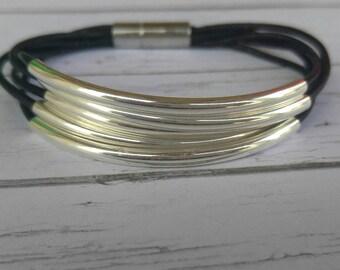 Silver Tube Bracelet// Beaded Bracelet// Leather Bracelet// Stacking Bracelet// Silver Tubes// Leather Gift// Choose Leather Color