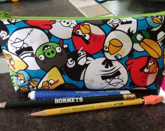 Angry Birds Pencil Case with Key Ring / School / Storage /Party Favors