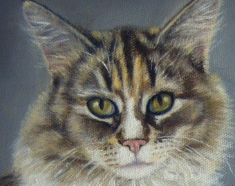 CUSTOM Pet Portrait Miniature Painting in OIL by Lara ACEO 3x3 Mini Tiny Cat Dog Art