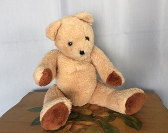 Teddy Bear Vintage Antique Distressed Tan Brown Plush Toy Stuffed Animal