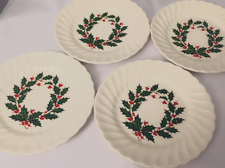 Christms Plates Set of 4 Holly Wreath Vintage Plate Side Cake Dessert ...