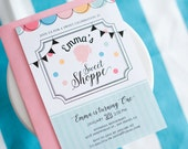Sweet Shoppe Silhouette Birthday Invitation, Sweet Shoppe Invite, Your Custom Silhouette Party Invitation
