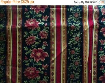 Sale Black Red Christmas Stripe Border Fabric - 3/4 yd - Timeless Treasures