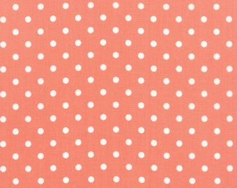 "Coral Polka Dot Prairie Fabric - 24"" x 44"" - Moda - Corey Yoder - 29005 24"