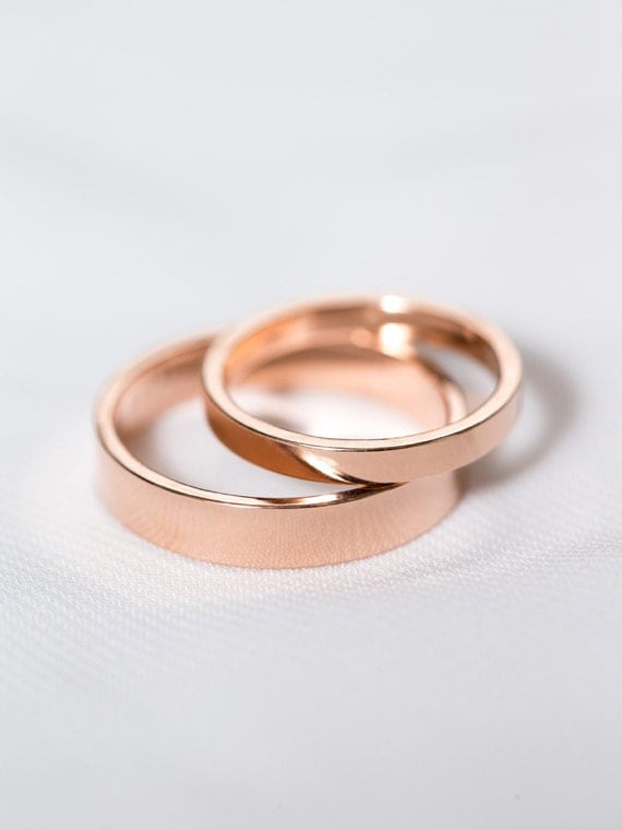 Rose Gold Wedding Band Set His & Hers Rings Rose Gold