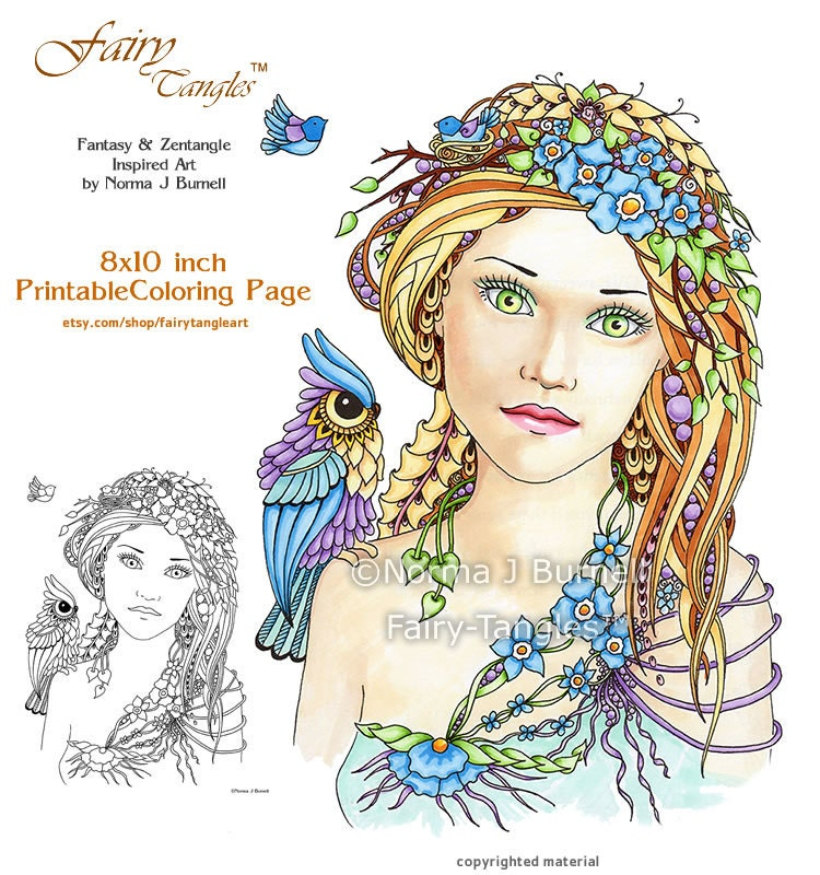 summer fairy tangles adult printable coloring book pages by. Black Bedroom Furniture Sets. Home Design Ideas