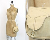 Reserved 70s Gucci Saddle Bag / 1970s Vintage Suede Tan Leather Crossbody / Equestrian Vibes Purse