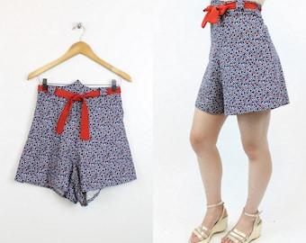 40s Tap Shorts Small / 1940s Vintage Shorts / Tile Squares Shorts