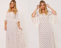 FALL SALE Vintage 70s Floral PRAIRIE Dress Boho Maxi Dress Hippie Wedding Dress Boho Wedding