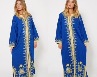 Vintage 70s EMBROIDERED Caftan Blue & Gold Boho Maxi Dress ETHNIC Hippie Dress