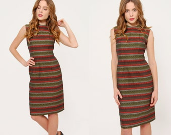Vintage 50s Striped WIGGLE Dress Printed Fitted Dress Pin Up Cocktail Dress Mad Men Shift Dress