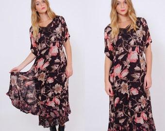 Vintage 90s Black FLORAL Maxi Dress Oversized Garden ROSE Print Dress Short Sleeve Boho Dress