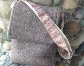 Parisian Mist Recycled Silk and Felted Wool Cross Body Messenger Bag handmade in USA