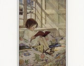 RESERVED: 1905 Antique Children's Print of Picture-Books in Winter by Jessie Willcox Smith