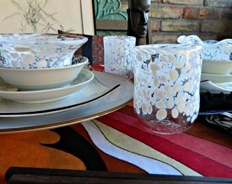 Wine Glasses-Hand Blown Glass-Tumblers-Drinkware-Hand Blown Glasses-Wedding Gift-Dining-Entertaining-Set of 2-White-FREE Book Bonus