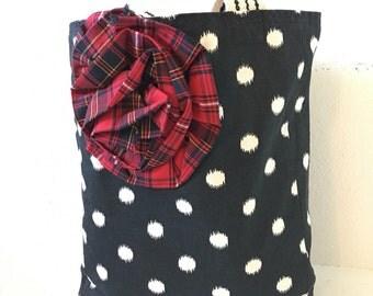 Polka Dot Tote/ Handbag/ Purse/ Plaid/ Mixed Prints
