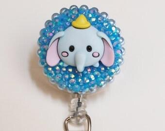 Disney's Dumbo The Elephant Sparkly ID Badge Reel - Retractable ID Badge Holder - Zipperedheart