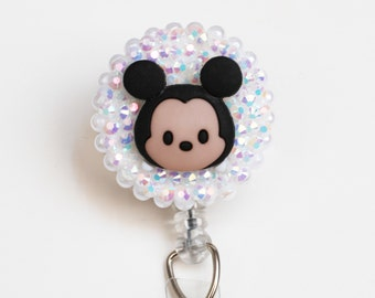 Mickey Mouse Sparkly Tsum Tsum ID Badge Reel - Retractable ID Badge Holder - Zipperedheart