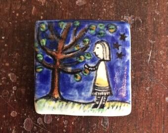 Woman and tree pin