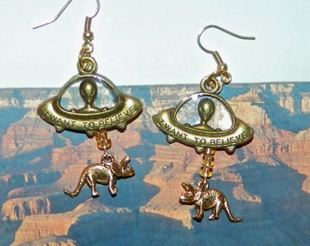Alien Abduction of Triceratops Earrings, UFO Extraterrestrial Flying Saucer Unicorn