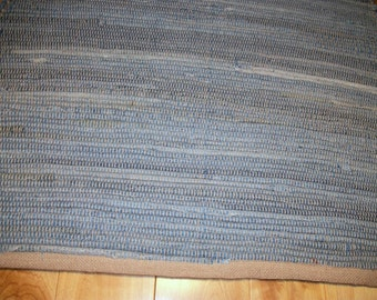 Upcycled Light Blue Jean Rug 33 inches by 24 inches Rag Rug No Fringe by grandmachris on etsy.com