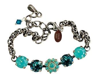 Crystal Bracelet, Swarovski Elements Chaton Bracelet, Pacific Opal Bracelet, Chaton Crystal Bracelet, Tennis Bracelet, Vintage  Bracelet