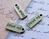 Double sided DRINK ME mini metal tag charms - Antique bronze color