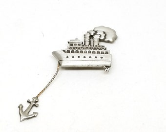 Great Pewter Steamship with anchor vintage Pin