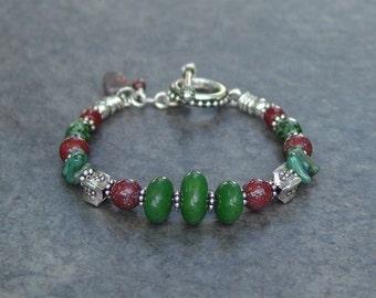 Bloodstone, Jade & Sterling Silver Chunky Bracelet